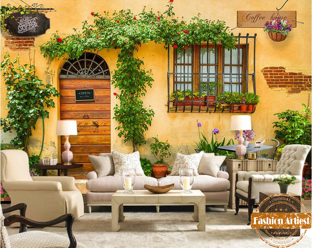 Custom modern 3d wallpaper mural European floral town ...