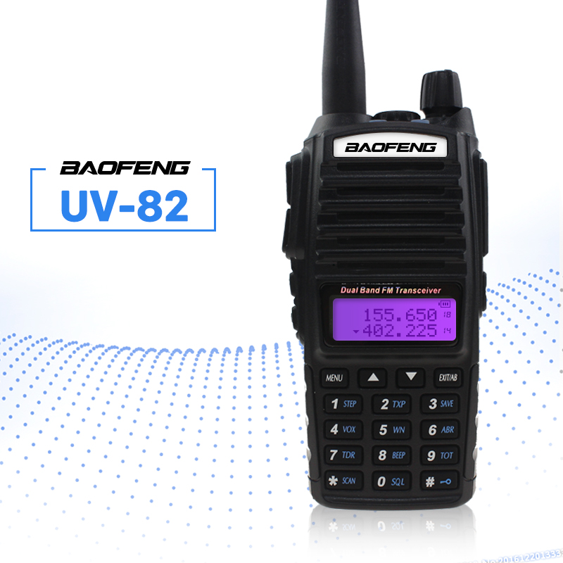 BAOFENG UV-82 Talkie Walkie VHF UHF 5 w 8 w Double PTT Émetteur-Récepteur De Poche Interphone FM Récepteur CB Jambon Amateur two Way Radio
