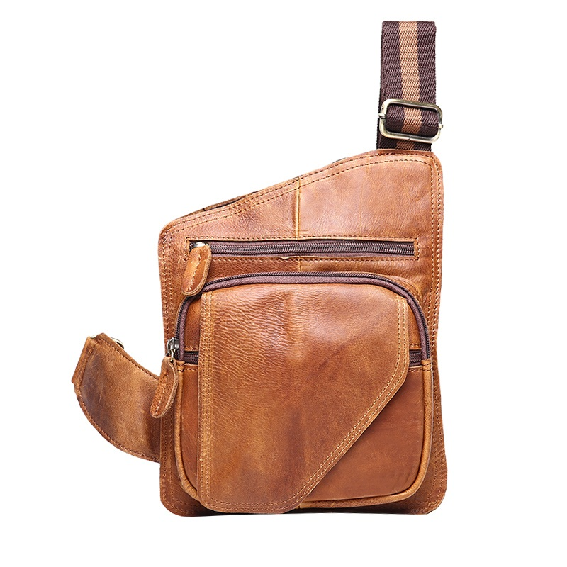 Vintage crazy horse leather men chest bag shoulder travel bags 100% oil wax genuine leather men chest pack man messenger bag men travel bags crazy horse cow skin real leather man bags fashion design men shoulder bags