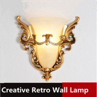 European style wall lamp bedroom bedside lamp living room TV wall stairs aisle creative fashion carved 220V LED decorative light