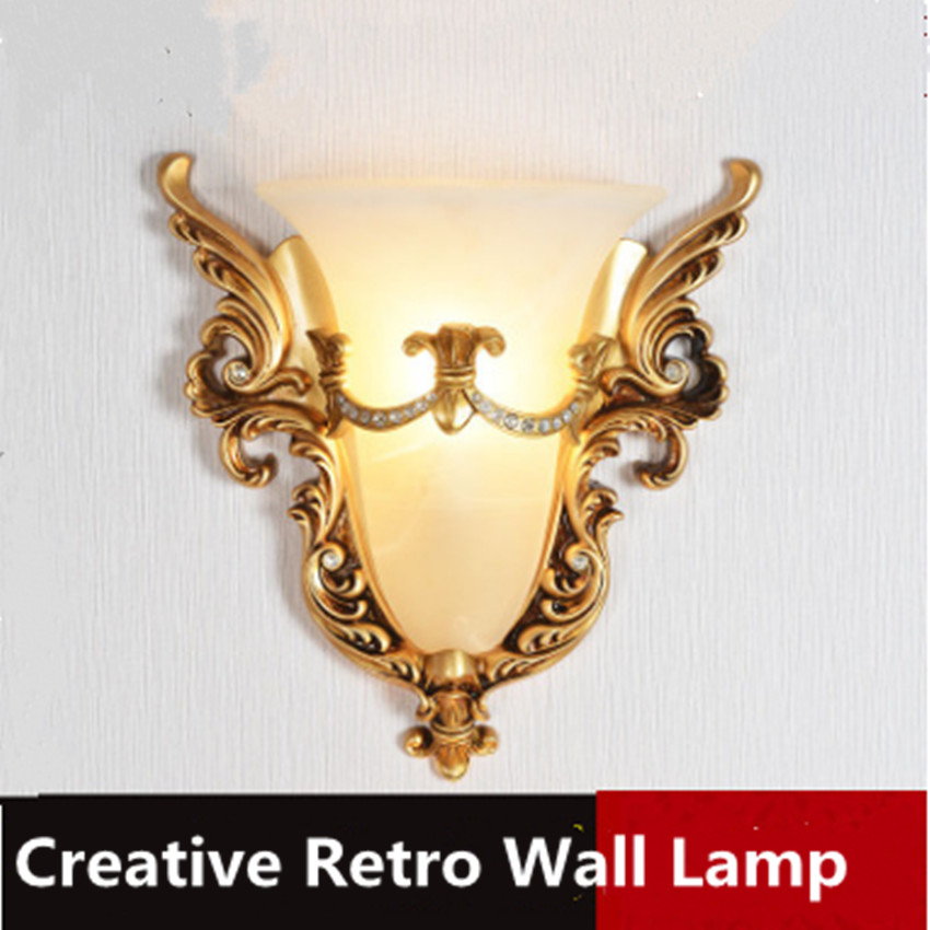 European style wall lamp bedroom bedside lamp living room TV wall stairs aisle creative fashion carved 220V LED decorative light southeast asia fashion creative peacock crystal wall lamp nordic bedroom bedside living room tv background wall lamp 220v led