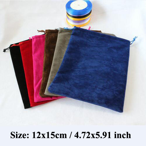 12x15 Cm DOUBLE Sided Drawstring Velvet Bags For Jewellery Jewelry Pouches Christmas Packaging Gift Bag With Flannel Ribbon