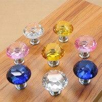 30mm Diamond Shape Crystal Glass Knobs Cupboard Pulls Drawer Knobs Kitchen Cabinet Handles Furniture Handle Hardware 30pcs/pack|Cabinet Pulls| |  -