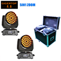 China Rack Case 2in1 Packing 2XLOT 400W 18 Channels 36x15W Led Moving Head Light Beam Wash Effect Light RGBWA 5IN1 Zoom Function
