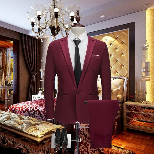 HEFLASHOR Luxury Men Wedding Suit Male Blazers Slim Fit Suits For Men Costume Business Formal Party Blazers Sets (Jacket+Pant)