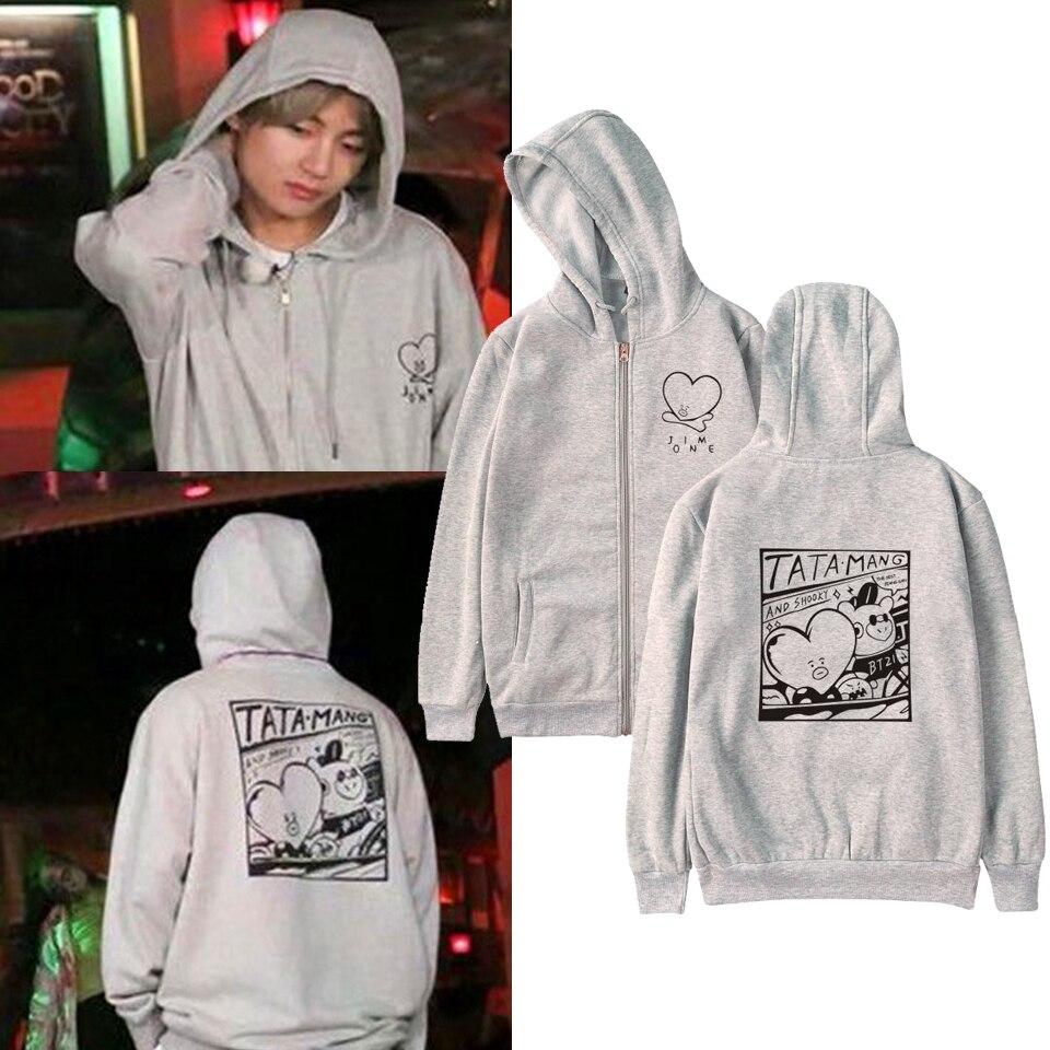 LUCKYFRIDAYF 2019  Kpop Love Yourself Zipper Hoodies Sweatshirt Women/Men V The Same Style Hoodies Women Streetwear sweatshirt