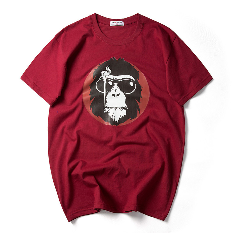2017 Fashion Monkey with Sunglass Printed Men T-shirt Short Sleeve Funny T Shirts for Man Hipster O-neck Cool Top Tshirt 7XL 4