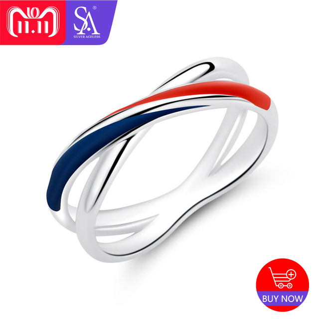 SILVER AGELESS 925 Sterling Silver Europa Red/Blue Stripe Wedding Rings for Wome