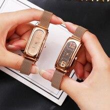 Reloj de vestir de mujer de lujo de oro rosa 2019 nuevo reloj de pulsera de diamante Casual reloj de pulsera de mujer de malla magnética de acero para mujer