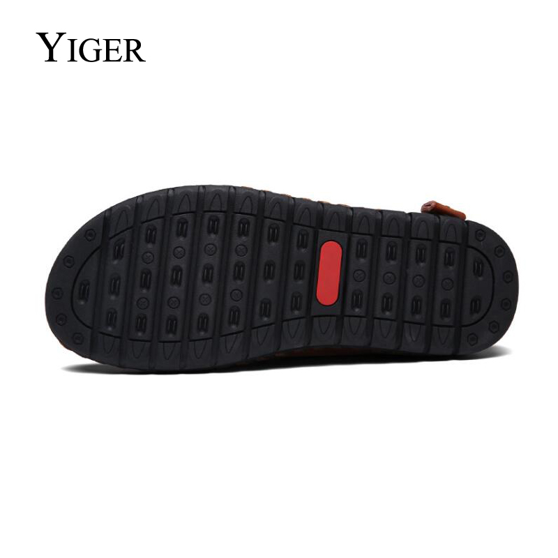 YIGER New Men Sandals Genuine Leather Man Shoes Large Size Hole shoes - Men's Shoes - Photo 2