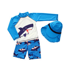 New Toddler Baby Swimwear Summer Children Cartoon Prints Boys Beach 3pcs Swimming Suits Swimsuits