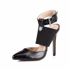 The New Female Sandals Show Black Faux Leather Belt Buckle Elastic Stiletto Shoes Women'S Singles Sm0640-10a
