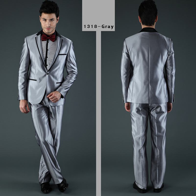 2016 New Style Fashion Suits Or Men Wedding Suit Silver Grey Brand Men Tuxedo Two Pieces Coat + Pants New 2014
