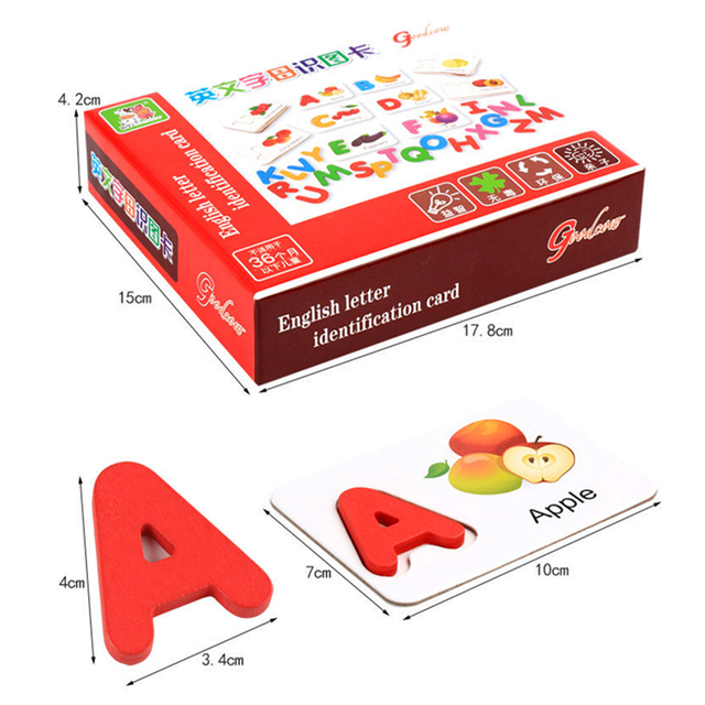 Candywood 3D Puzzles Child Kids English Letter Identification Fruit pairing Card English Letter Educational Learning wood Toys