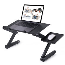 Adjustable Aluminum Laptop Desk Ergonomic Portable TV Bed Lapdesk Tray PC Table Stand Notebook Table Desk Stand With Mouse Pad(China)