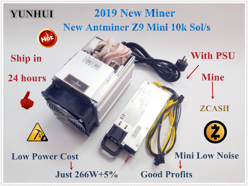 YUNHUI New Antminer Z9 Mini 10 k Sol/s 300 W ZCASH ZEN ZEC BTG Equihash Asic Mineiro pode meu ZEN ZEC BTG moeda pode chegar a 14