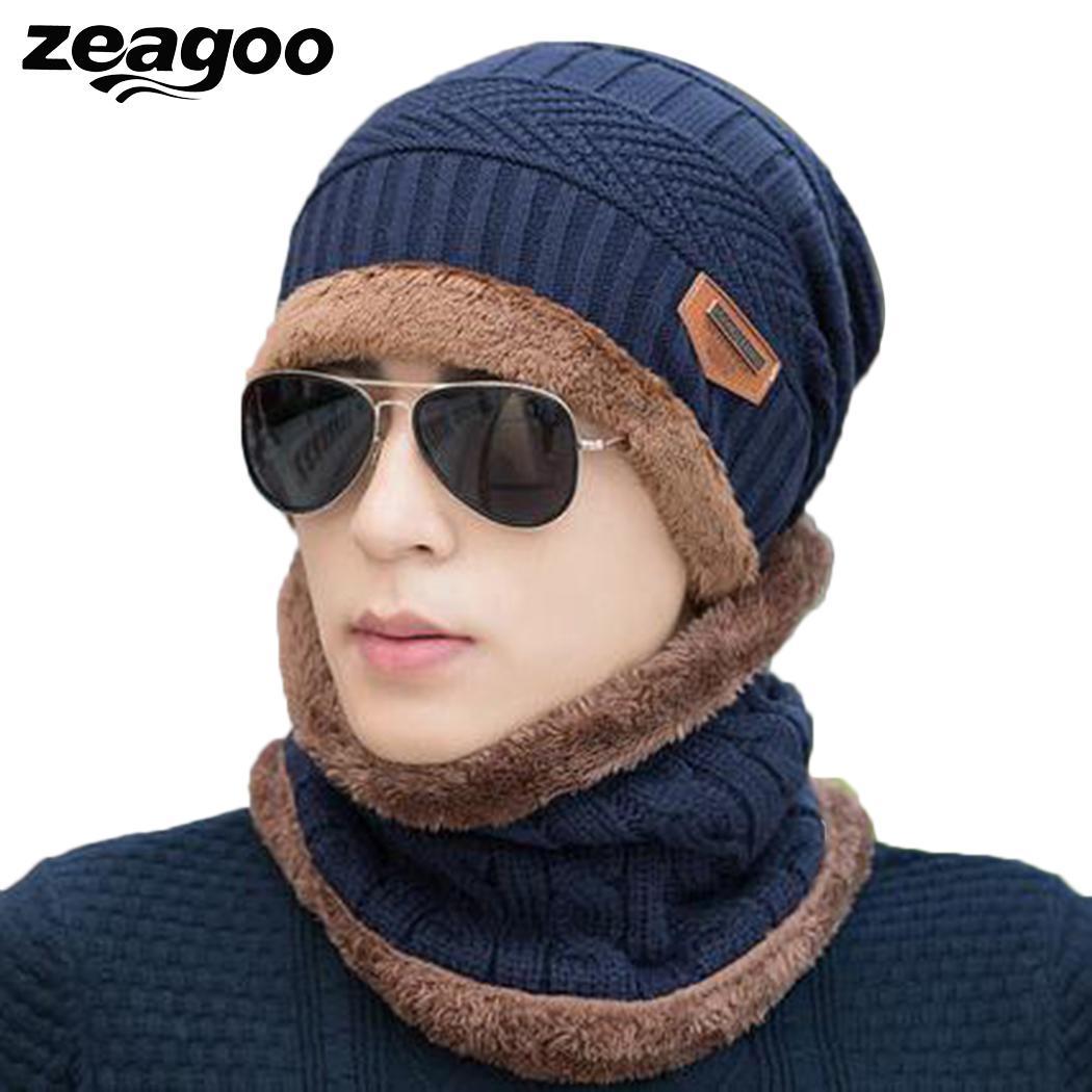 унисекс зимняя теплая вязаная утолщенная мягкая теплая шапка и шарф
