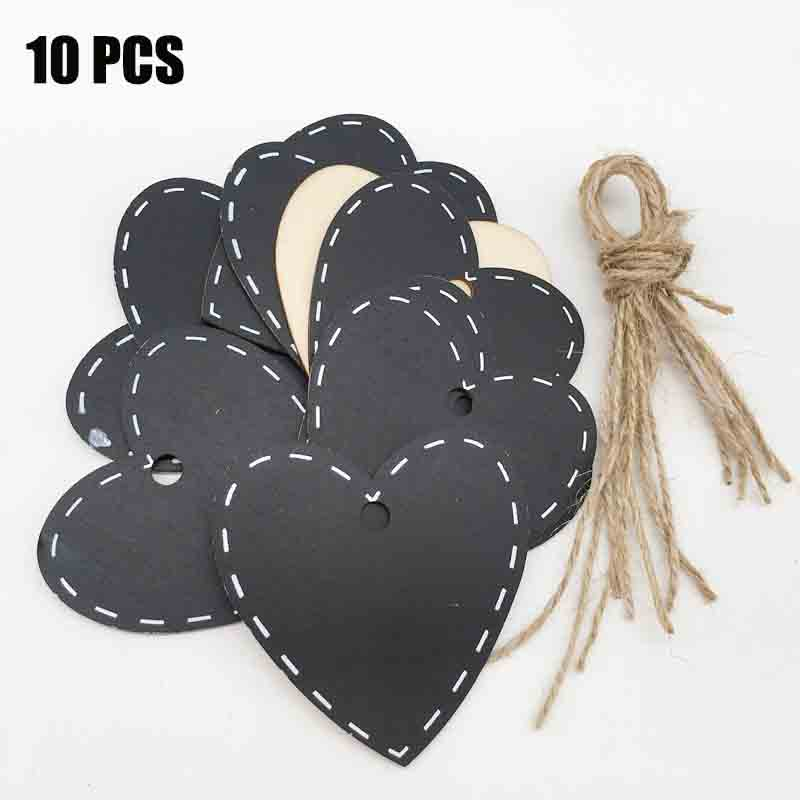10Pcs Cloud/Heart Mini Wooden Chalkboard  For Hanging Ornament Blackboard Signs Tags Party House Decorations With Jute Twine