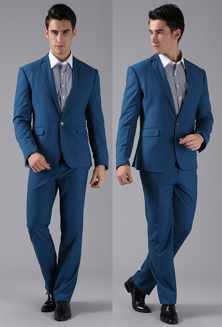 brand new les hommes costume bleu royal un bouton cachemire costume slim fit veste pantalon pour. Black Bedroom Furniture Sets. Home Design Ideas