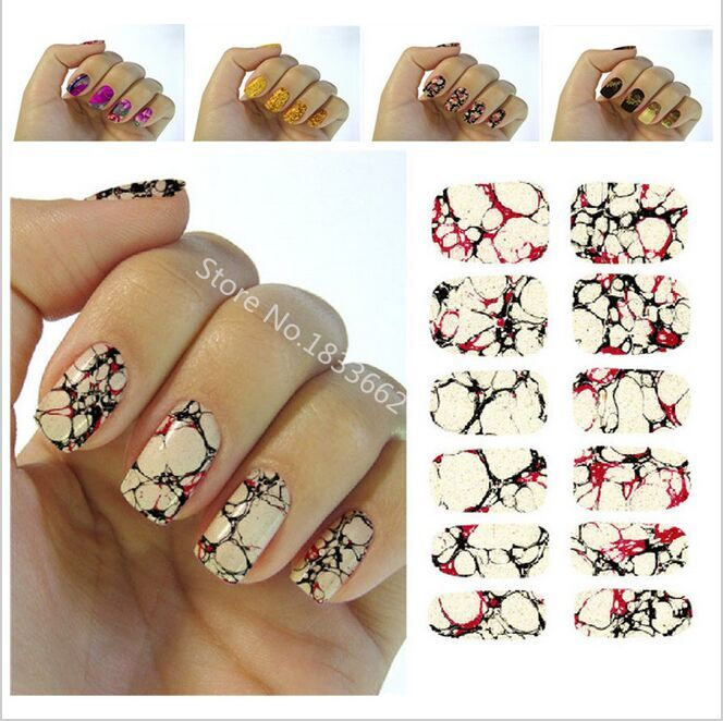 2017 Sale Nail Sticker New Water Transfer Nail Foil Sticker Art Sexy Red Yellow Blood Marble Stone Rock Wraps Manicure Decals