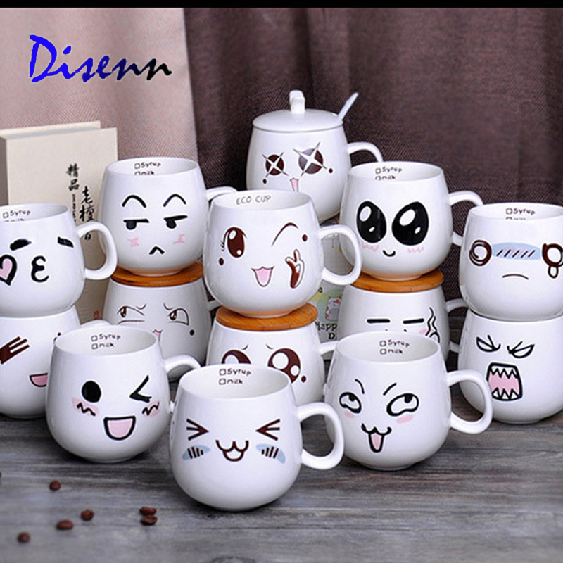 Creative Ceramic Cups Cute Cartoon Face Expression Water