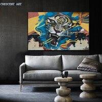 뜨거운 판매 포스터 멋진 거리 낙서 스타일의 호랑이 그림 캔버스 인쇄 홈 장식 거실