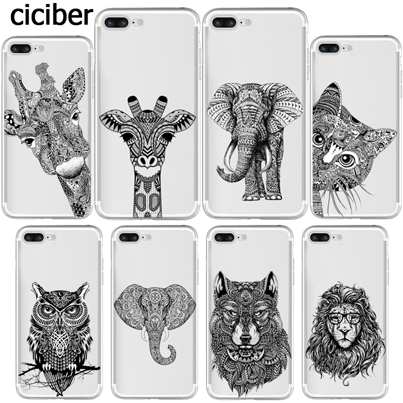 Phone Case Indian Tribal Elephant Cat Giraffe for Apple iphone 8 7 6S 6 PLUS 5S 5 SE X 10 Silicone Transparent Coque Capa Fundas ...