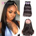 360 Lace Frontal With Bundles 7A Straight Brazilian Virgin Hair 3 Bundles With 360 frontal pre plucked 360 lace virgin hair