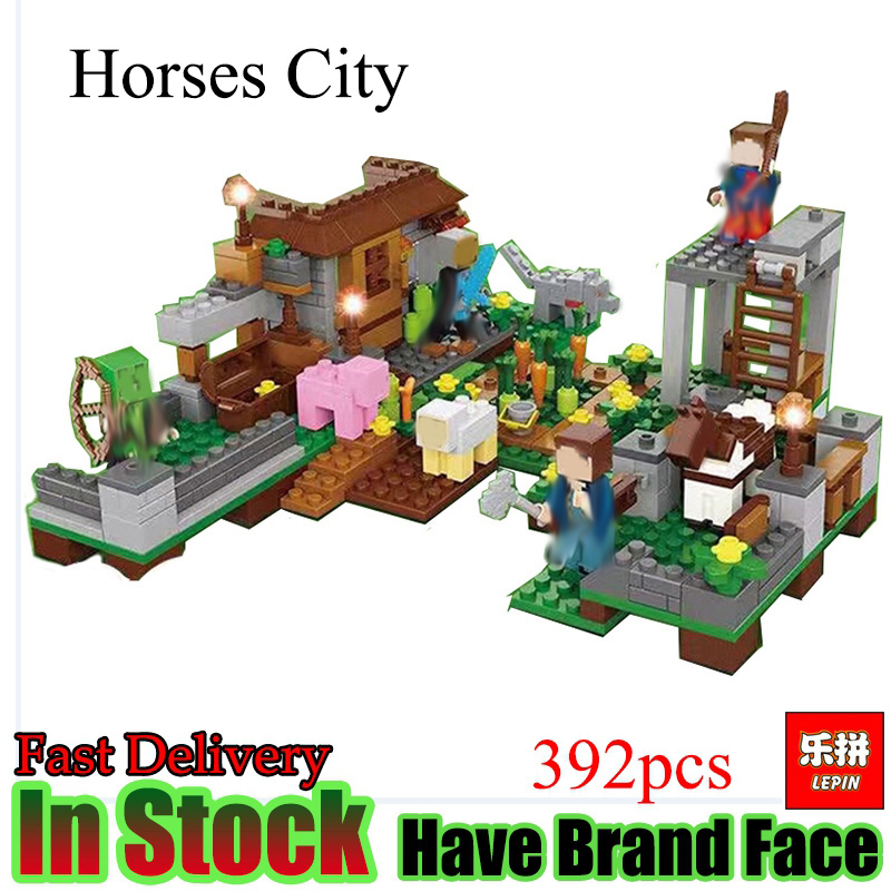 Lepin Minecraft 392pcs Horses of the city My World Model action anime figures Building Blocks Bricks Toys For Children lepin 40011 882pcs city series police department model building blocks bricks toys for children gift action figures