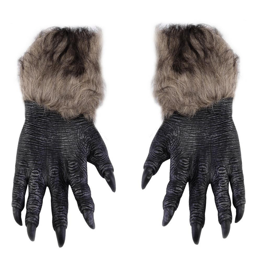 New Year Gloves Gift Cosplay Halloween Werewolf Ghost Festival Hairy Beast Gloves Simulation Wolf Claw Gloves Drop Shipping 2020