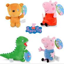 13cm 19cm Genuine PEPPA PIG Mini Stuffed Soft Doll George Zoe Suzy Rebecca Emily Danny  Pedro bear Dinosaur Children Plush toy