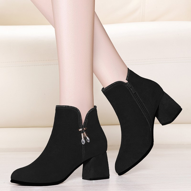 Fashion Women Round Toe Cow Suede Leather Ankle Short Boots Black Zipper High Heels Booties Dress Shoes Women 2019 YG-A0220