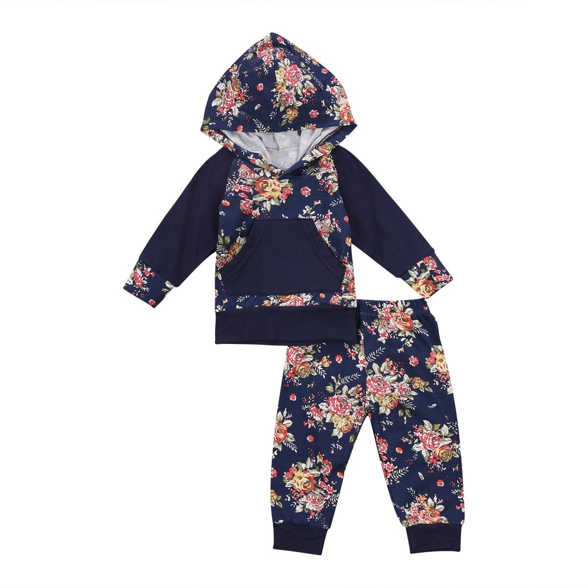 2Pcs Autumn Winter Newborn Toddler Infant Baby Girls Boys Floral Hoodies Tops Sweatshirt Legging Pants Outfits Set Clothes