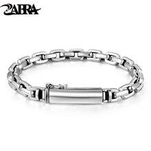 Zabra genuíno 925 prata esterlina pulseira homem 7mm espessura personalizar comprimento punk rock vintage cruz pulseiras mans jóias