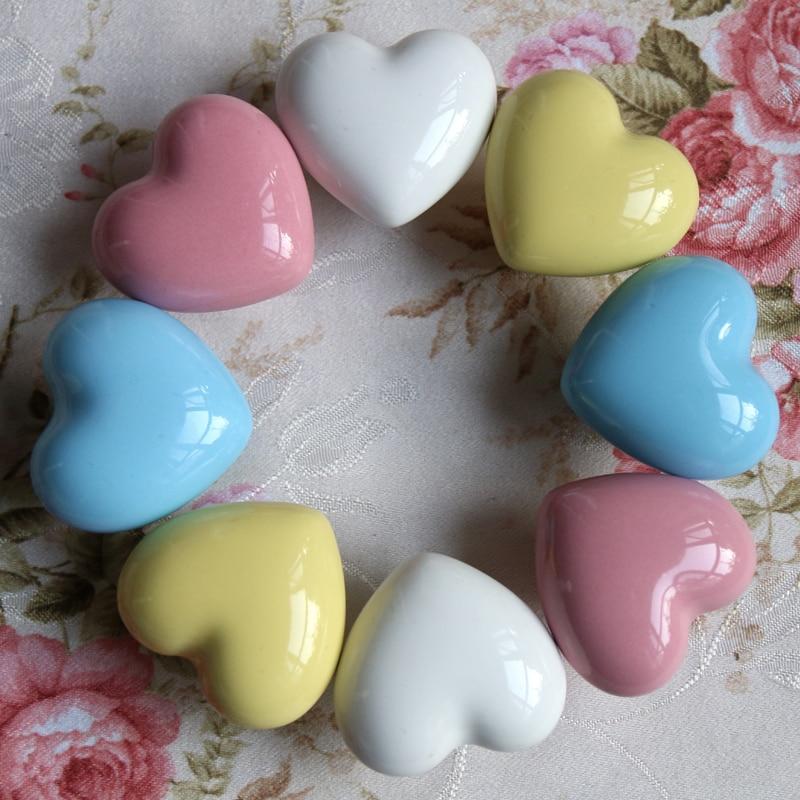 Ceramic Knobs Heart shaped Dresser Drawer Knobs / Kitchen Cabinet ...