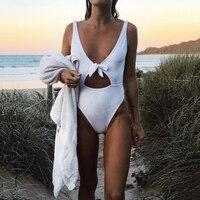 Sexy Bowknot One Piece Swimwear Women Swimsuit Backless Monokini White Trikini 2017 Hollow Out High Waist