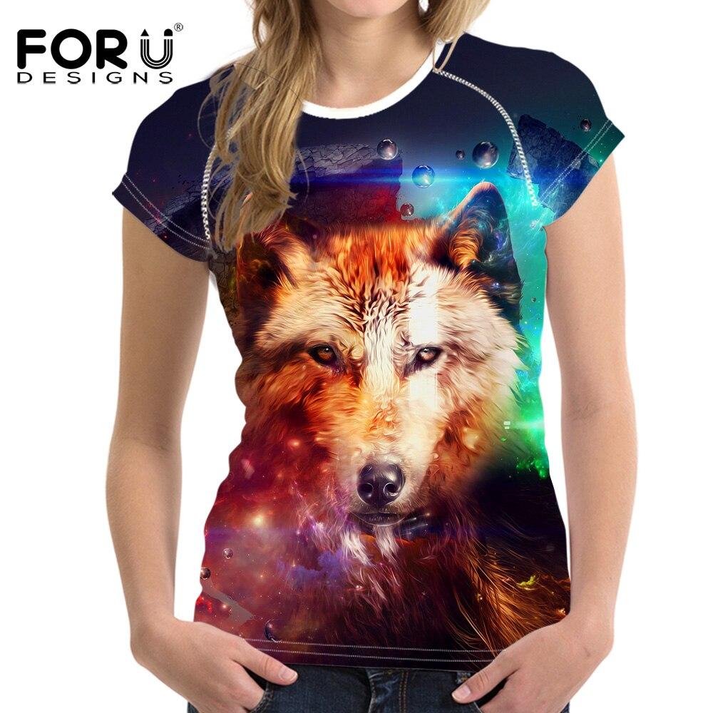 FORUDESIGNS 3D Wolf Pattern Funny T shirt Women Fashion Tshirt Animal Prints Summer Short Sleeved Tees