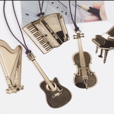 50pcs/lot New Fashion Musical Instrument Designs Metal Bookmark Gold Book Marks Wholesale