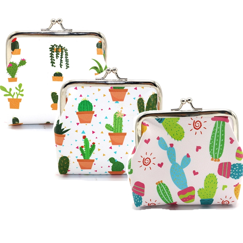 Women Coin Holder Bag Pu Cactus Pant Small Clutch Bag Ladies Girl Fashion Hasp Coin Money Card Key Wallet Purse Case Pouch