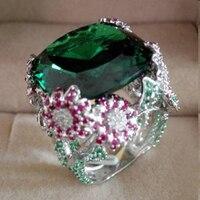 Настоящее Anillos Qi Xuan_Trendy Jewelry_luxury большими камнями коктейлей Rings_S925 серебро коктейльное кольцо _ завод прямые продажи