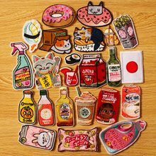 Japan Anime/Embroidery Patch DIY Hook Loop Embroidered Patches For Clothing Cartoon Bottle Iron on Clothes Parches