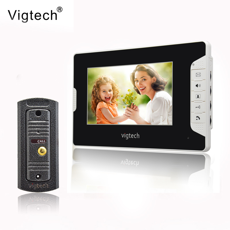 Vigtech7`` video intercom video doorphone speakerphone intercom system white monitor outdoor with waterproof & IR camera original ahua english version vth1510ch color monitor with vto2000a outdoor ip camera video intercom system with vtob108 box