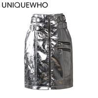 Uniquewho Дамские туфли из PU искусственной кожи серебро мини-юбка высокой уличный стиль мини-юбка Высокая талия прямо молния Юбки для женщин 2018 ...