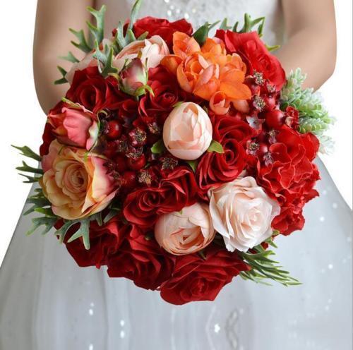 Новое Прибытие Романтический Искусственный Свадьба Брошь Букеты Красных Роз Букет 2017 Букеты Для Невесты Брошь Букет Холдинг
