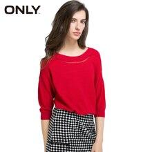 Только Новый горячий Для женщин Сладкий Удобные однотонные три четверти Асимметричный вязаный свитер дамы Пуловеры для женщин 116124031
