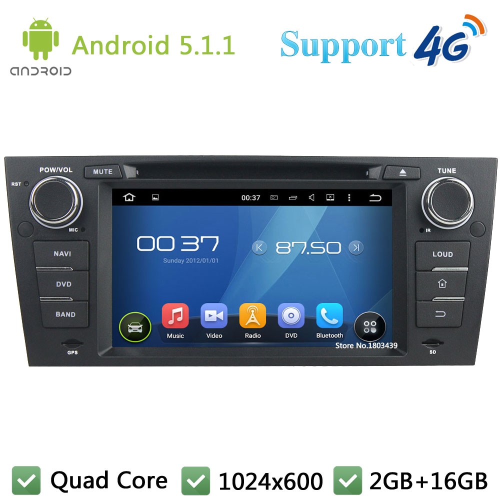 Quad Core 7″ 1024*600 Android 5.1.1 Car DVD Player Radio Stereo PC Screen 3G/4G WIFI GPS Map For BMW E90 E91 E92 E93 3 Series
