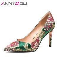 ANNYMOLI Donne Pumps High Heels Party Shoes Ricama Elegante Signore Scarpe Fiore A Spillo Pompe Nero Verde 2018 Nuovo Formato 34-39