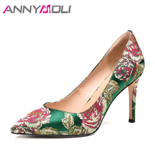 3904d0b942 ANNYMOLI Mulheres Bombas Partido sapatos de Salto Alto Sapatos Sapatas Das  Senhoras Bombas Stiletto Flor Borde
