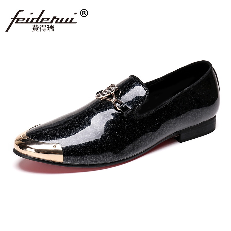 Plus Size Black Round Toe Slip on  Man Moccasin Loafers Patent Leather Height Increasing Wedding Party Mens Casual Shoes SL130Plus Size Black Round Toe Slip on  Man Moccasin Loafers Patent Leather Height Increasing Wedding Party Mens Casual Shoes SL130