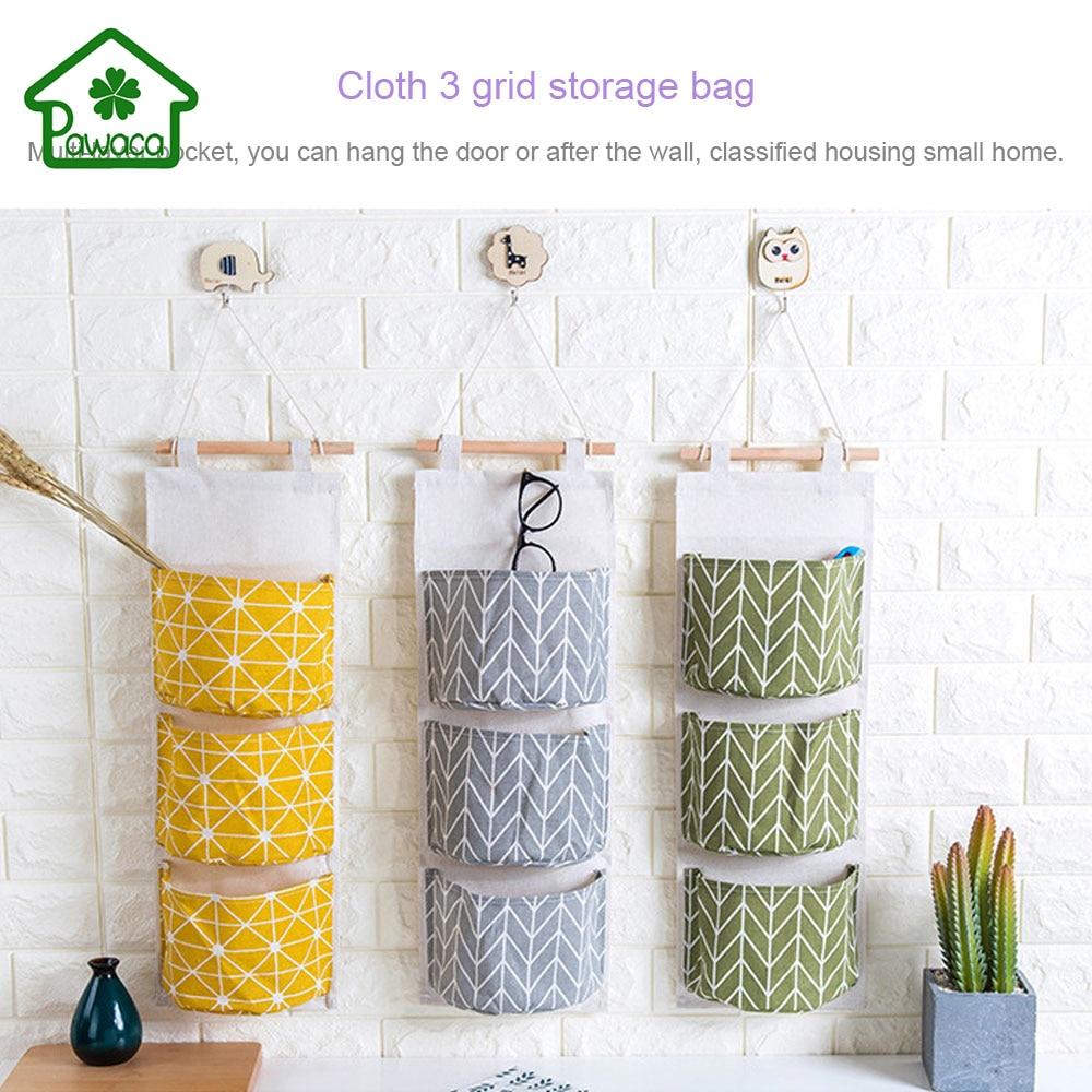 3 bolsillos de algodón de lino bolsa de almacenamiento en el hogar - Organización y almacenamiento en la casa